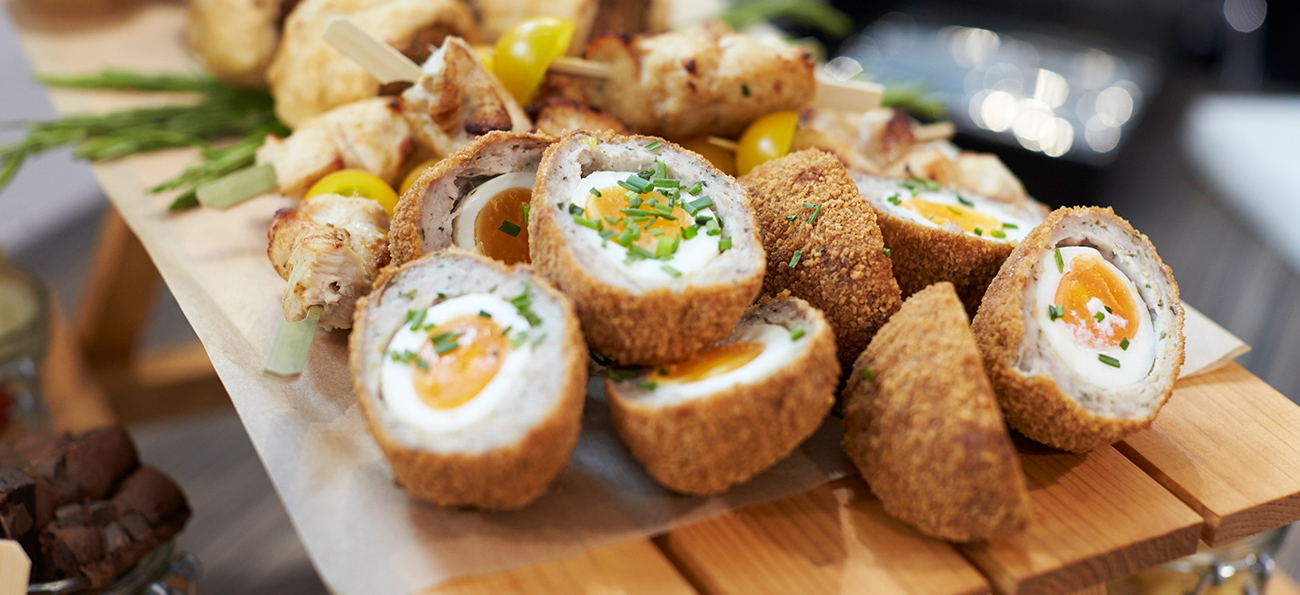 Scotch egg side dish and serving ideas.